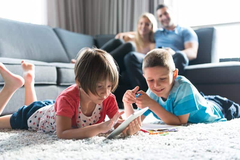 Kids playing on living room floor